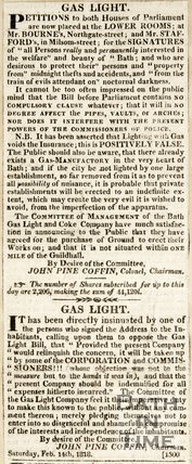 Concerning petition from Bath for gaslight in the city, 1818.
