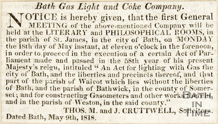 A notice of the first meeting of the Bath gaslight and coke company, 1818.