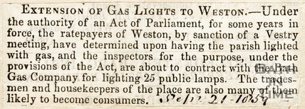Extension of the city gaslights to Weston, 1859.