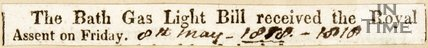 Newspaper article 'The Bath Light Bill received the royal accent on Friday.' 1818