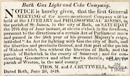 Newspaper article 'Bath Light and Coke Company' 1818.