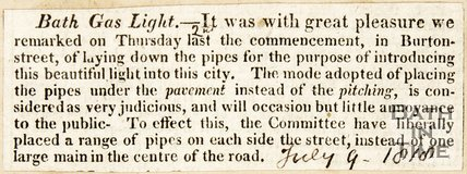 Newspaper article 'Bath Gas and Light' 1818.