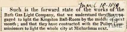 Newspaper article announcing the proposed gas lighting of the Kingston Ballroom by the Gas Light Company, 1819