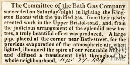 Newspaper article 'The Committee of the Bath Gas Light Company' 1829