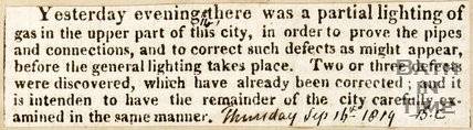 Newspaper article announcing testing of the gas lighting in the upper part of the city, 1819