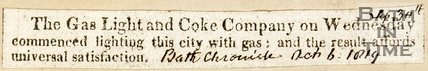 Newspaper article 'The Gas Light and Coke Company on Wednesday commenced lighting this city with gas: and the result affords universal satisfaction, 1819'