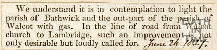 Newspaper article announcing the contemplation to light the Parish of Bathwick, 1827.