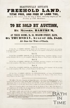 A notice of land to be sold in the Parish of Weston 1859.