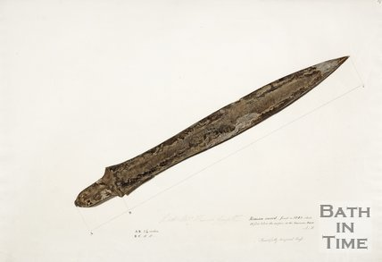 A diagram of a Roman sword found in 1848, Bath.