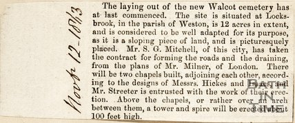 Newspaper article announcing the laying out of the new Walcot Cemetery, 1863.