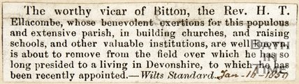 Newspaper article announcing a vicar leaving the Wilts Standard, 1850.