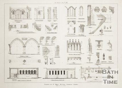 Technical drawings of the Church of St Mary, Bitton, 1875.