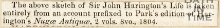 Reference to Sir John Harrington's life.