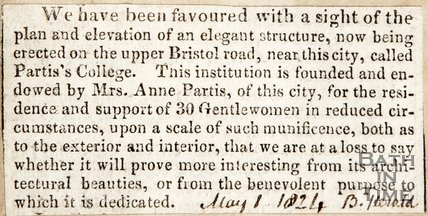 Newspaper article announcing the new Partis' College. 1824.