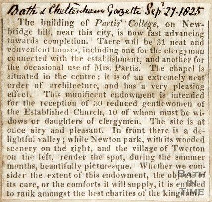 Newspaper article describing the Partis College. 1825.