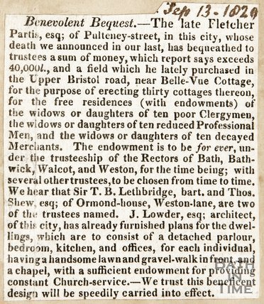 Newspaper article entitled 'Benevolent Request' concerning the artist of Pulteney Street who sent money to the college. 1829.