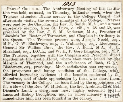 Newspaper article detailing the Partis' College anniversary.