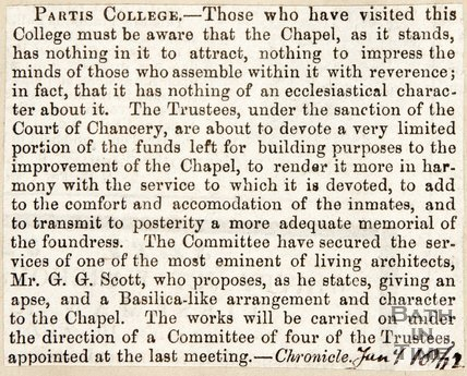 Newspaper article concerning the Partis College's proposed improvements. 1862