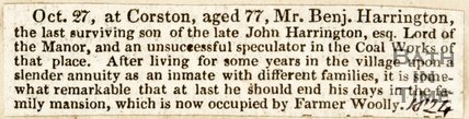 Newspaper article announcing the death of Mr Benjamin Carrington. 1824.