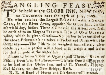 Newspaper article announcing an angling feast to be held at the Globe Inn, Newton St. Loe. 1788.