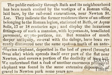 Newspaper article describing the Roman villa found during the construction of the Great Western Railway, Bath.