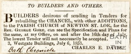 Newspaper article asking for builders for the construction of the church at Newton St Loe. 1853.