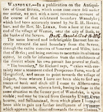 Newspaper article concerning Wansdyke. 1816.