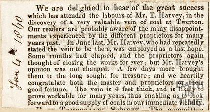 Newspaper article concerning the discovery of coal at Twerton by Mr Harvey. 1860.