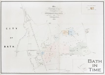 Plan of estates in the parishes of Lyncombe and Widcombe and Twerton. 1850.
