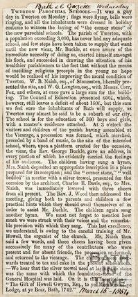 Newspaper article. 'Twerton Parochial Schools' 1854.