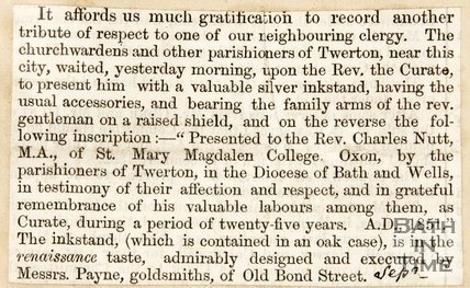 Newspaper article announcing the retirement of Rev. Charles Nutt of St Mary Magdalene College. 1851.