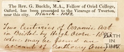Newspaper article announcing Rev. G. Buckle as been presented to the vicarage of Twerton of Bath. 1852.