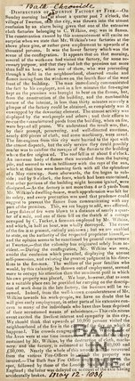 Newspaper article concerning the destruction of Twerton factory by fire. 1836.