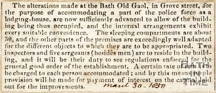 Newspaper article announcing the completion of alterations at the Bath Old Gaol. 1850.