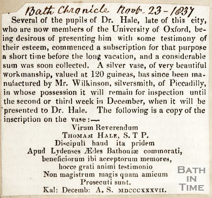 Newspaper article detailing Dr Hail of Lyde House, Bath is presented a silver vase. 1837.