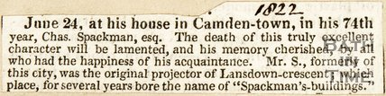 Newspaper article announcing the death of Chas. Spackman. 1822.