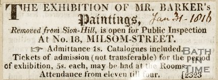 Newspaper article announcing that the exhibition of Mr Barker's paintings is open at No. 18 Milsom Street. 1816.