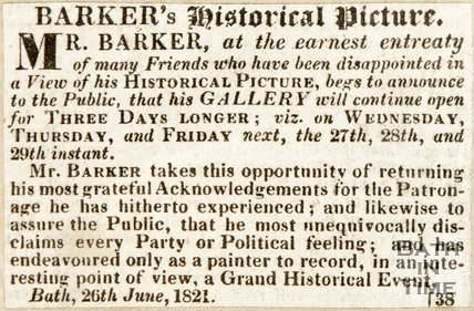 Newspaper article announcing that the exhibition of Mr Barker's paintings will be extended for a further three days. 1821.