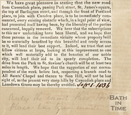 Newspaper article detailing a new road by Cavendish Place. 1836.