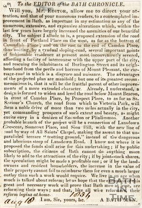 Newspaper article concerning the advantages and disadvantages of the new road at Cavendish place. 1836.