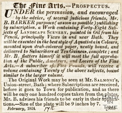 Newspaper article announcing the publication of Landscape scenery by Mr. B. Barker. 1824.