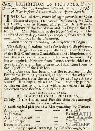 Newspaper article announcing an exhibitions of Thomas Barker at Kingsmead Street, Bath. 1794.