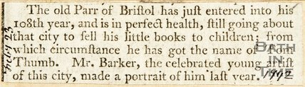 Newspaper article announcing the Old Parr of Bristol has reached his 108th year. 1792.
