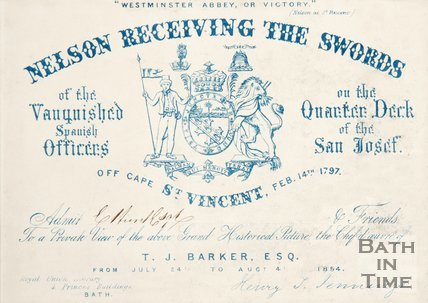 A ticket to an exhibition of Nelson receiving the swords. 1854.