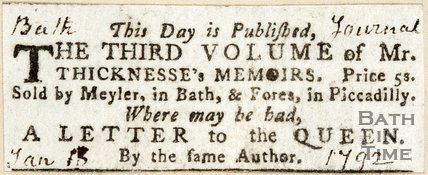 Newspaper article announcing the publication of the third volume of Mr Thicknesses' memoirs. 1792.