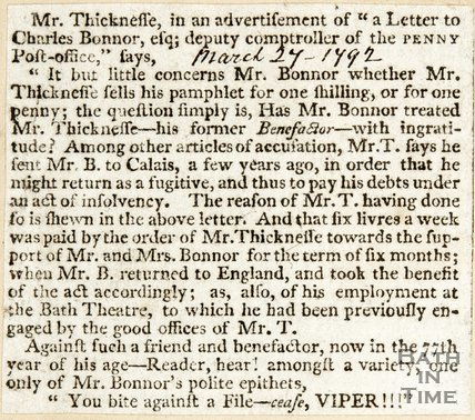 Newspaper article detailing a disagreement between Mr Thicknesse and Mr Bonnor. 1792.