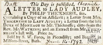 Newspaper article concerning a letter to Lady Audley from Philip Thicknesse. 1792.