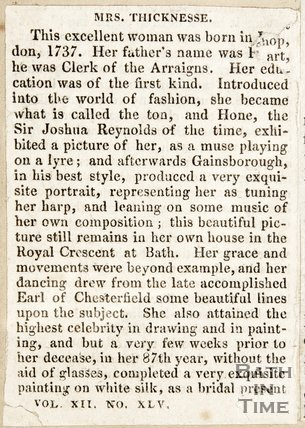 Newspaper article containing a short biography of Mrs Thicknesse.