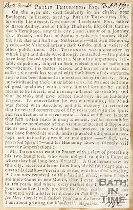Newspaper article containing the obituary of Philip Thicknesse. 1792.