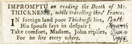 Newspaper article containing a short poem about Philip Thicknesses' death. 1792.